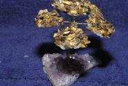 Plate gemstone tiger eye tree on Amethyst